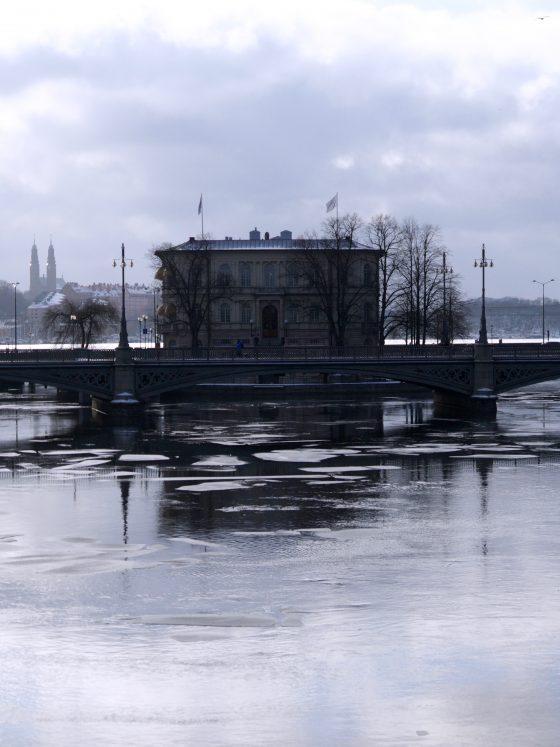 Stockholm im Winter Schwarz Weiß