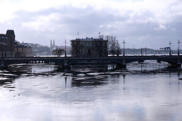 Vinter i Stockholm svart hvit kaldt