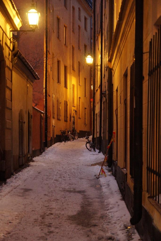 Schnee Winter im Stockholm Gamla Stan