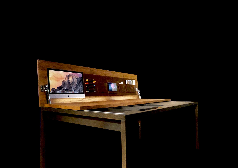 Schreibtisch mit beweglicher arbeitsplatte for Arbeitsplatte grun