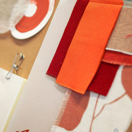 Orange Moodboard Interior Design Textile Stoffe