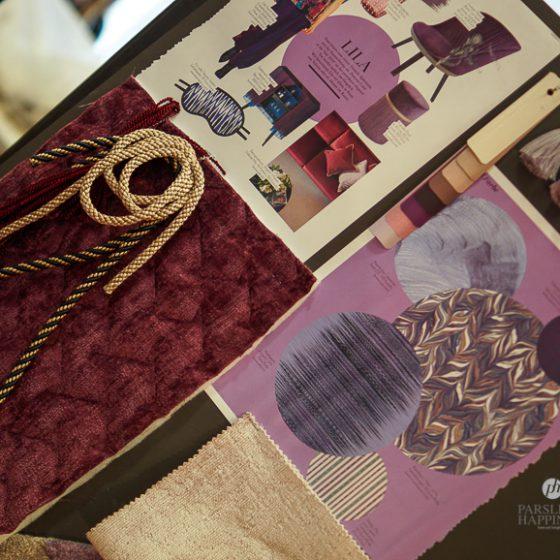 purple lilla moodboard stoffer tekstil trend interiør