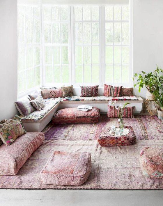 Boho Poufs Sitzkiesen rosa naturtömne
