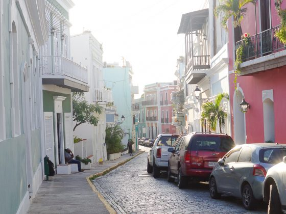 Colourful street in Ol San Juan Puerto Rico