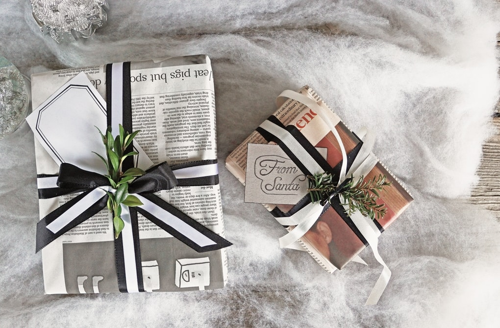 Zeitungspapier als Geschenkpapier