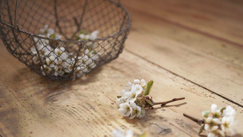 Pæreblomster på gulvbelegget