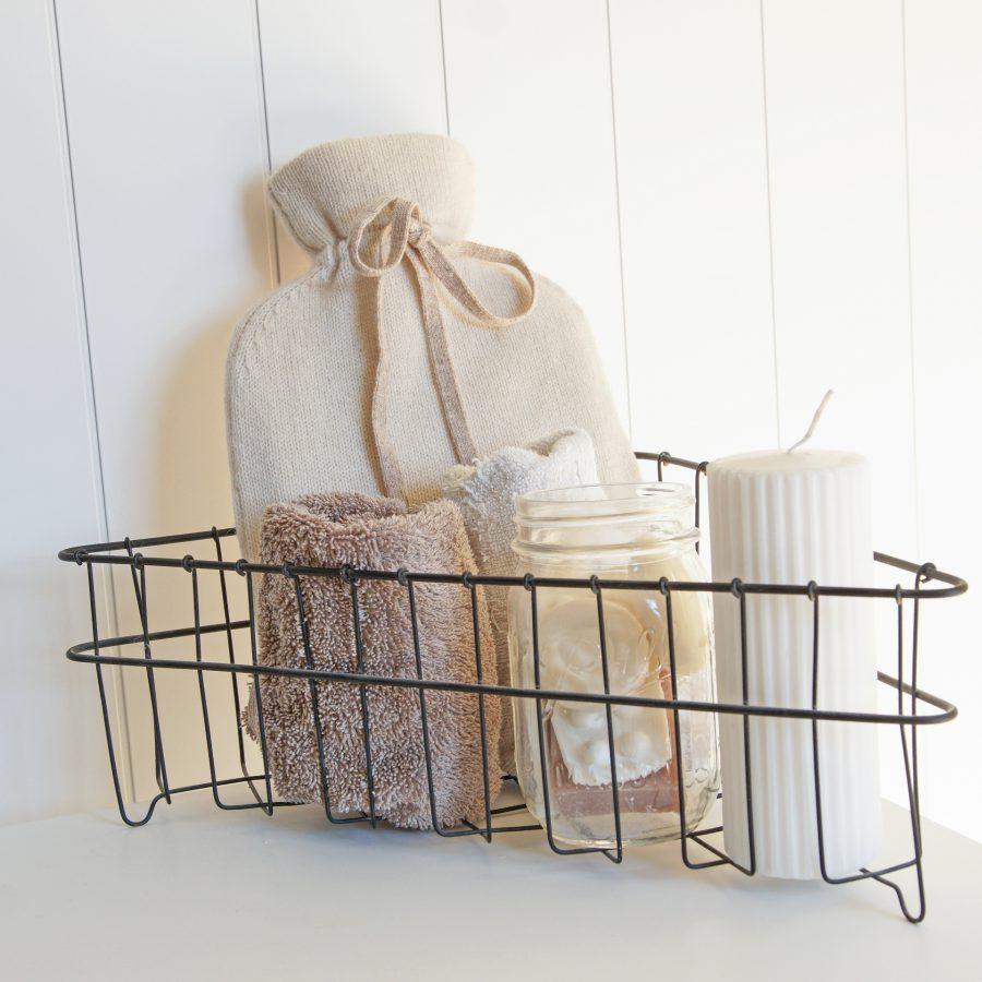 Hygge på badet med såpe lys og varmeflaske