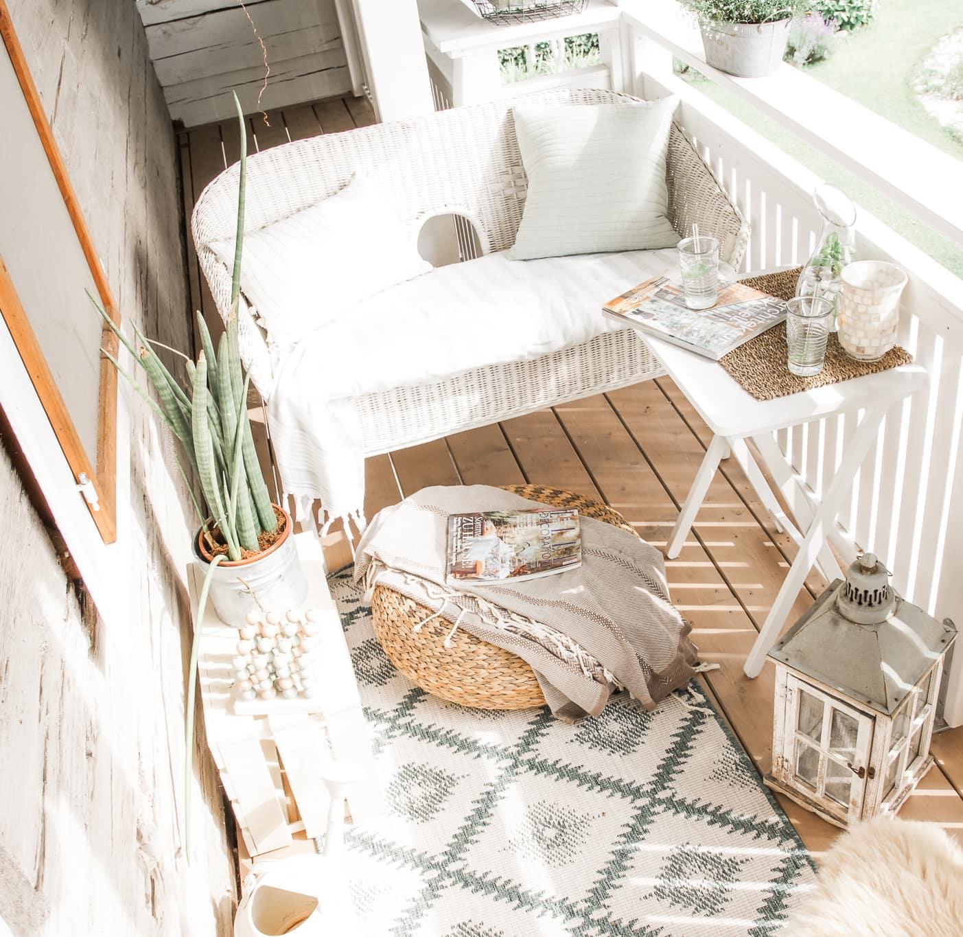 liten balkong i boho stil