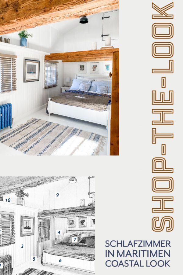 Shop the look - maritimes Schlafzimmer blau weiss