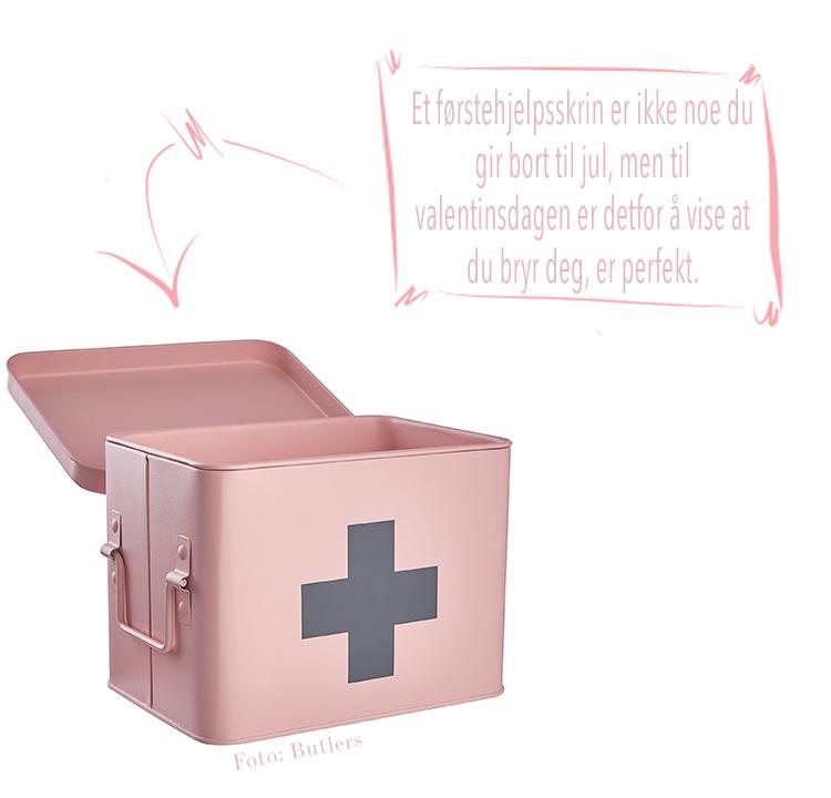 rosa førstehjelpsskrin boks til medikamenter