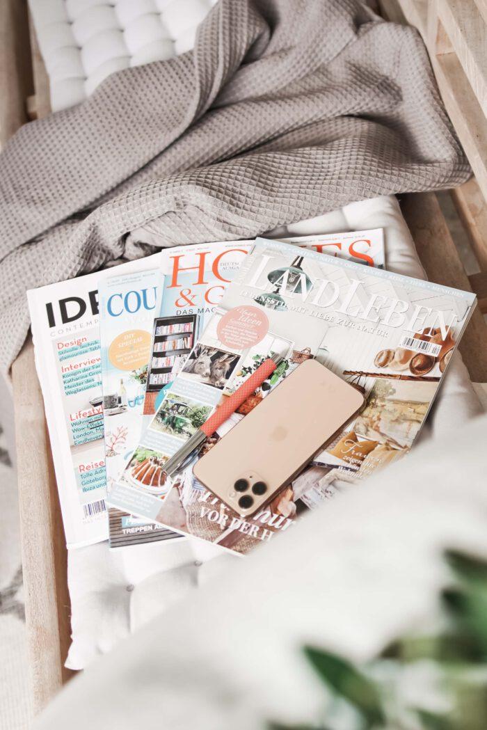 Zeitschriften als Geschenk für Gastgeberin